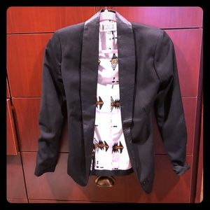 Blazer with leather lapels